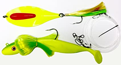 """Rockfish Fishing Lure Custom Offshore Tackle Rigged 6/"""" Chartreuse"""