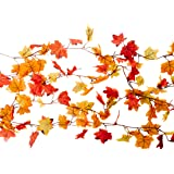 24 Feet of Garland Fall Decoration Value Pack - Pack of 4 CraftMore 6 Foot Garlands - Orange Red and Yellow Leaves