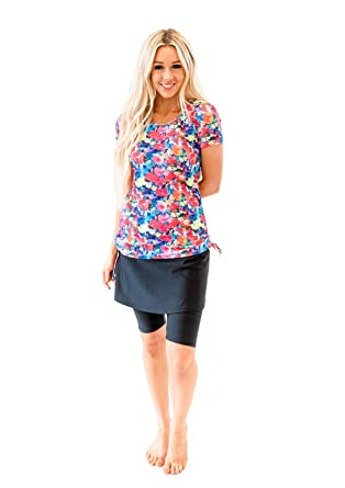 14a9788197 Ella Mae Modest Swimsuit for Women  Short Sleeve Rash Guard Swim Shirt    Swim Skirt