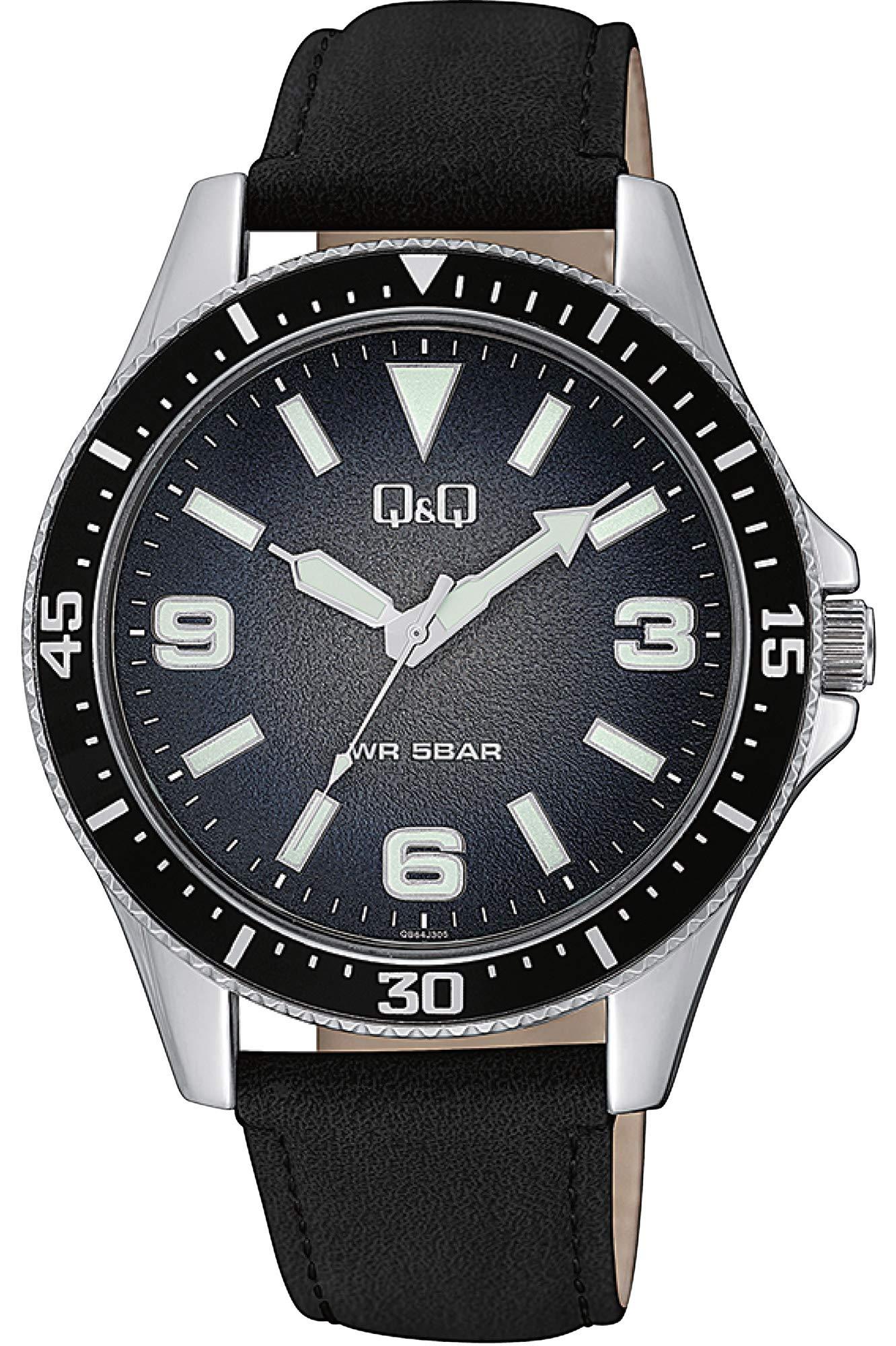 Q&Q Mens Quartz Watch, Analog Display and Leather Strap QB64J305Y