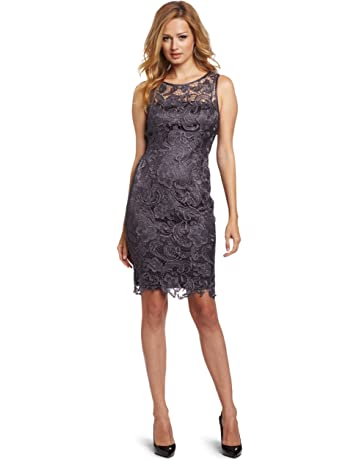 6f9f131b Adrianna Papell Women's Illusion Neckline Lace Dress