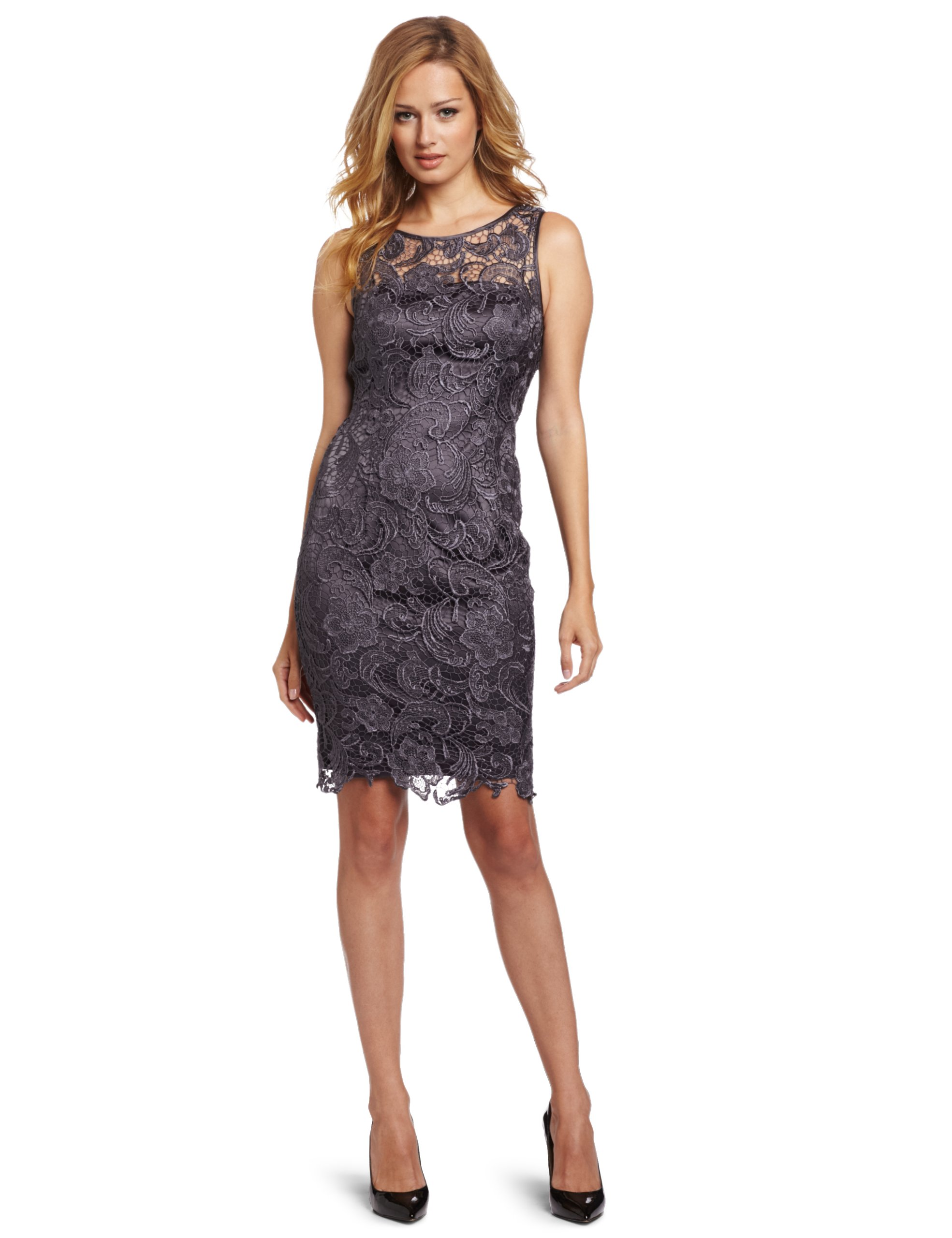 Adrianna Papell Women's Illusion Neckline Lace Dress, Charcoal, 10