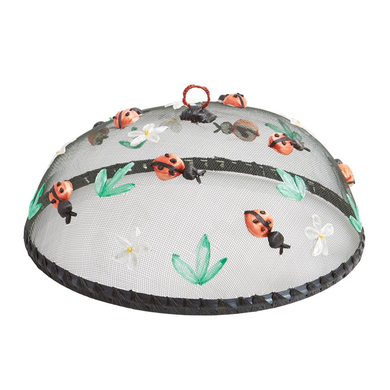 Woodard & Charles WDS004-4A Round Ladybugs Food Domes (Set of 4), 14'' x 5 1/2''