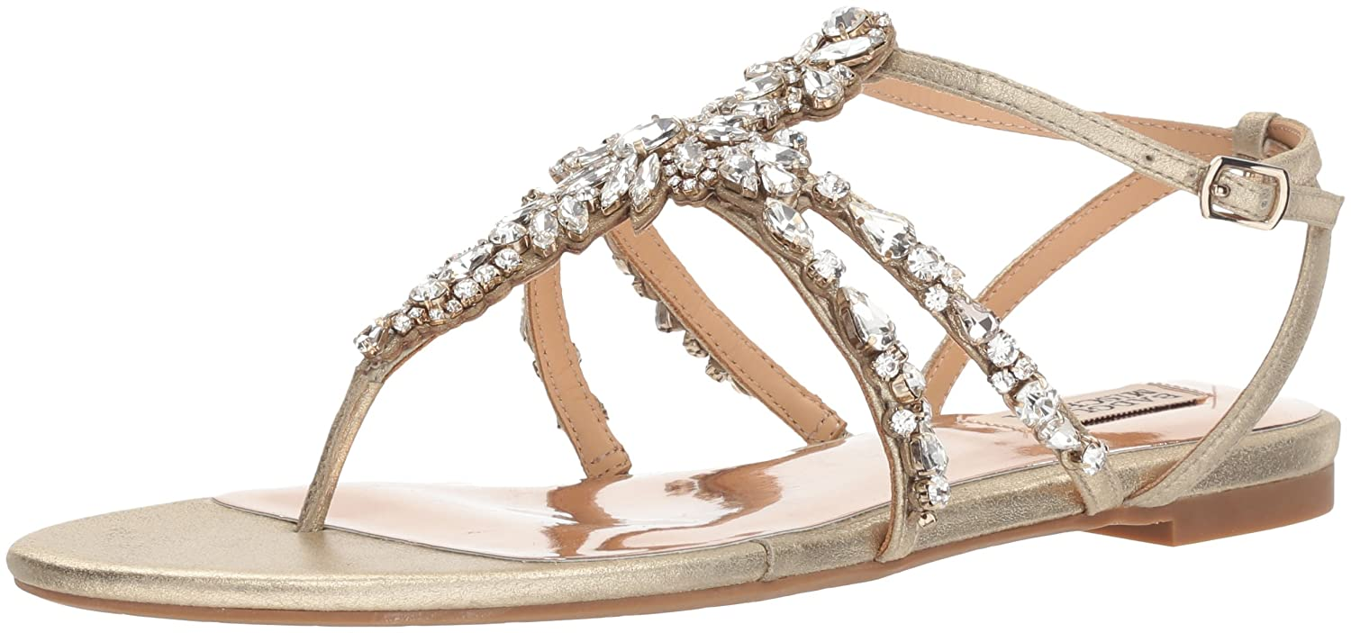 Platino Badgley Mischka Womens Hampden Flat Sandal