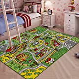 "JACKSON Large Kid Rug For Toy Cars ,Safe and Fun Car Rug With Non-Slip Backing , 52""x 74"" Road Rug Playmat For Kidrooms,Playroom and Classroom"