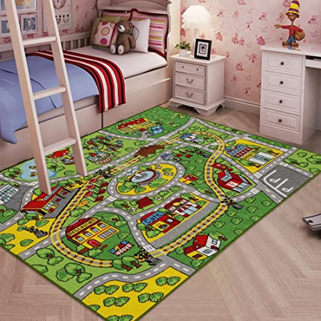 JACKSON Large Kid Rug For Toy Cars ,Safe and Fun Car Rug With Non-