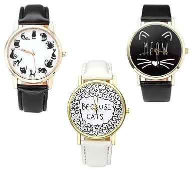 6c63738521 JSDDE Uhren,Vintage Fashion Cute Cartoon Kätzchen Katze Armbanduhr PU  Lederband Damenuhr Analog Quarzuhr Uhren