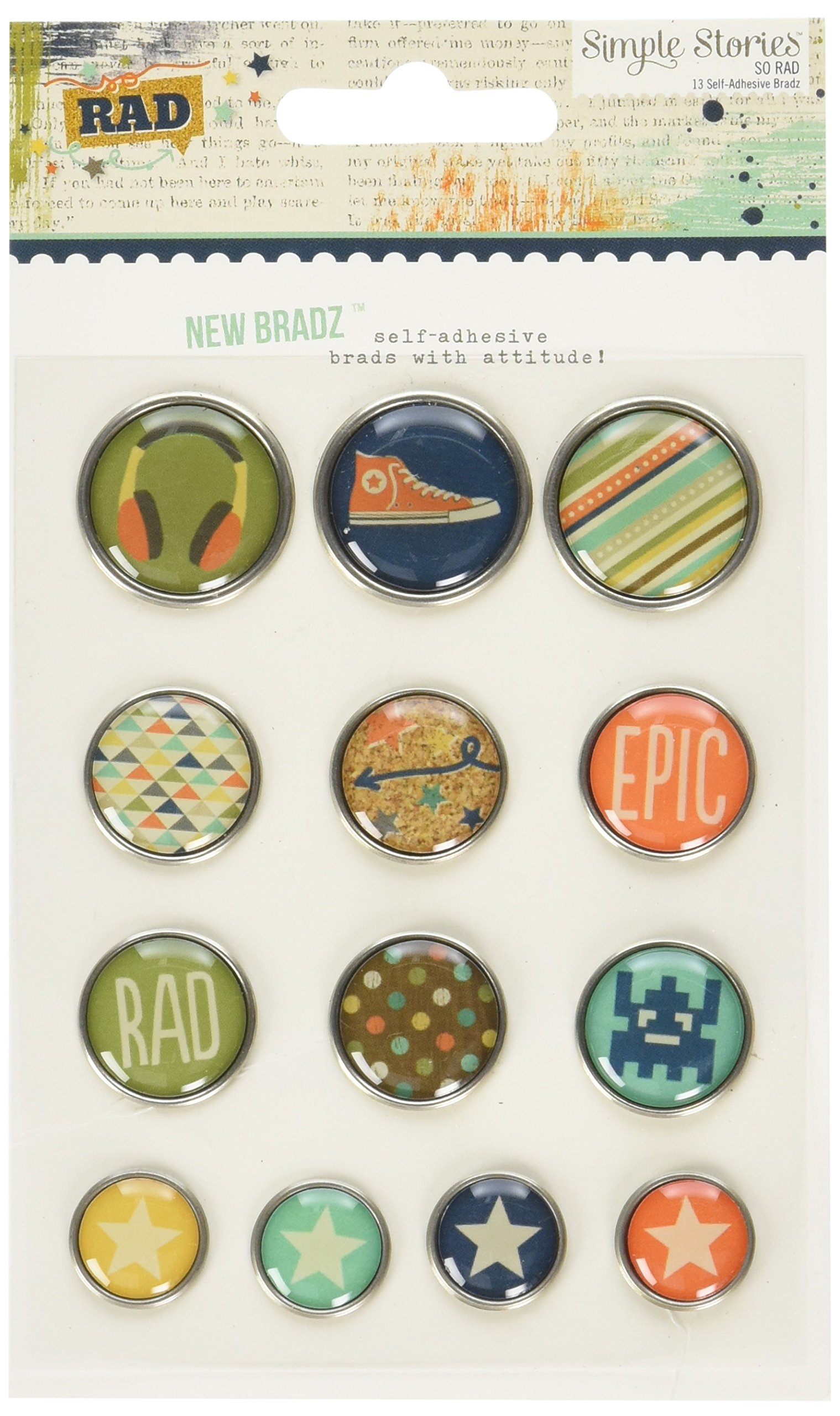 Simple Stories So Rad Self-Adhesive Bradz (13 Pack)