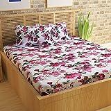 Bedspun Floral Print 152 TC Cotton Double Bedsheets with 2 Pillow Covers - Floral, Fusica Purple