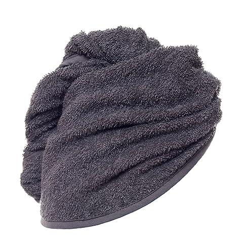 carenesse haarturban anthrazit grau 100 saugstarke baumwolle