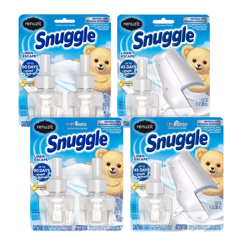 Renuzit Snuggle Scented Oil Plugin Air Freshener, Combo Pack ,6 Refills + 2 Warmers, Linen Escape, 6 Count Combo