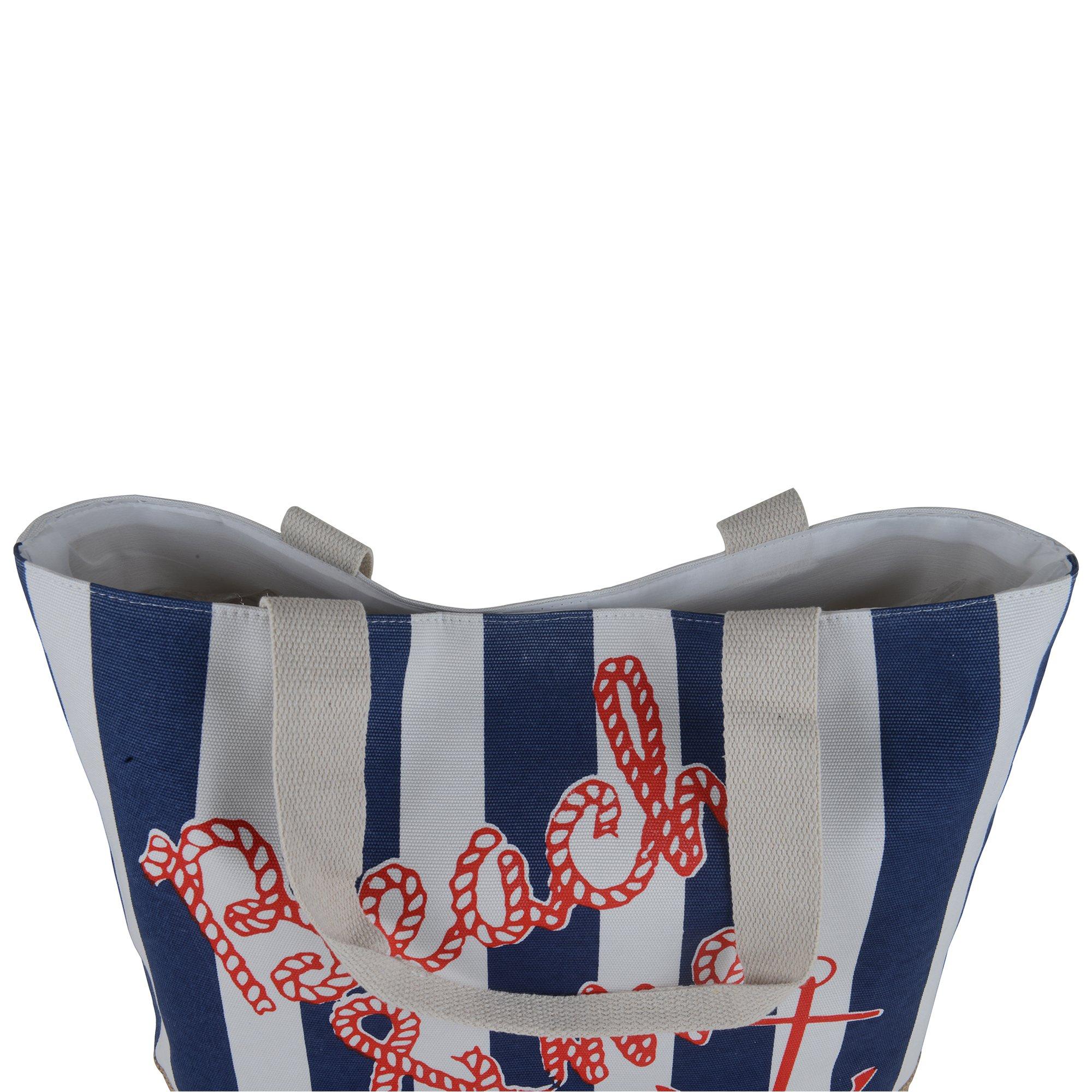 Canvas Burlap Beach & Me Printed Cotton Heavy Shoulder Straps Premium Women Tote Bag by BB (Navy Blue) by BB (Image #3)
