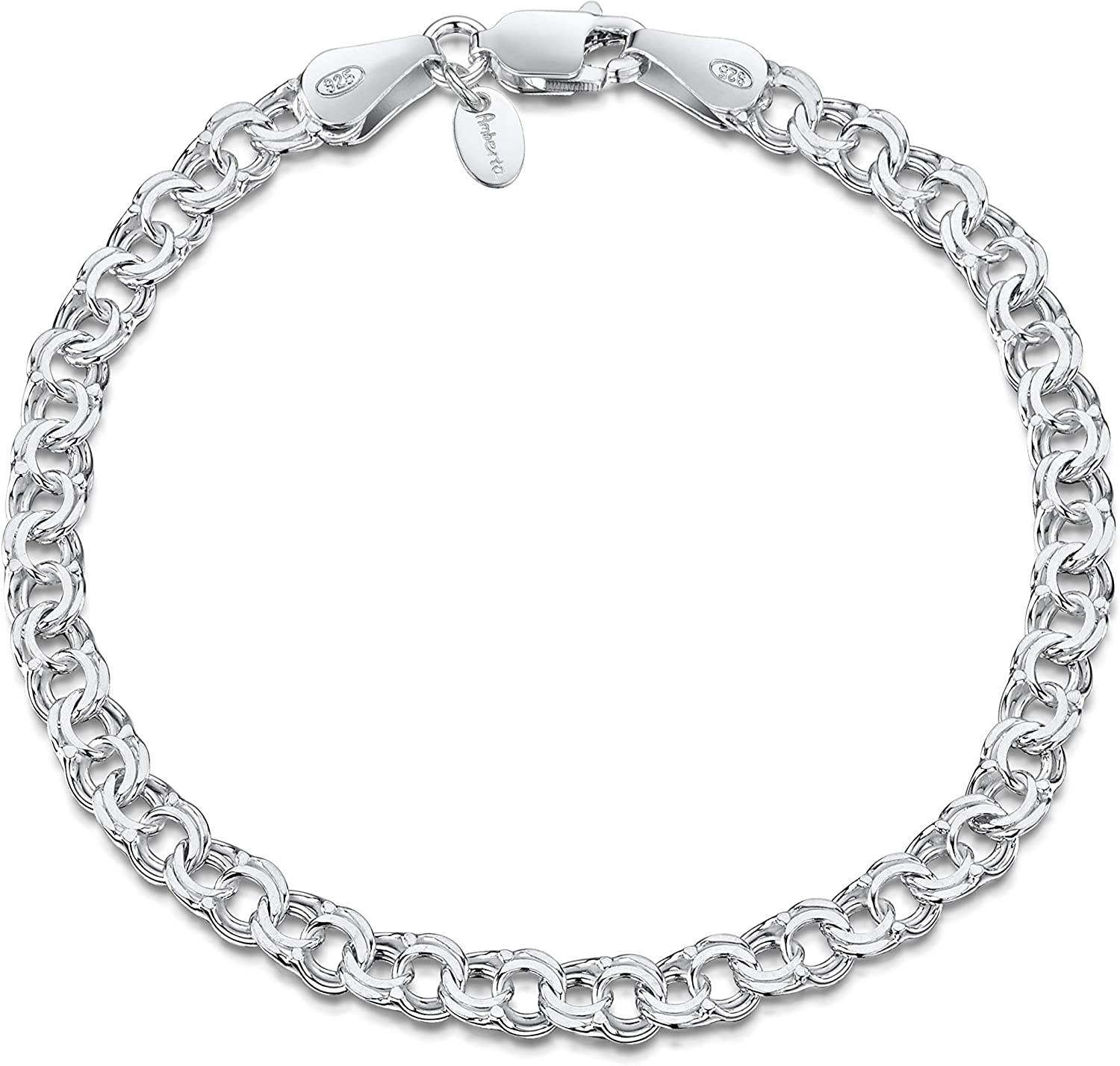 """Amberta 925 Sterling Silver 4.5 mm Chunky Double Curb Chain Bracelet Size 7"""" 7.5"""" 8"""" in"""