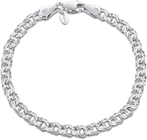 Amberta 925 Sterling Silver 4.5 mm Double Curb Chain Bracelet