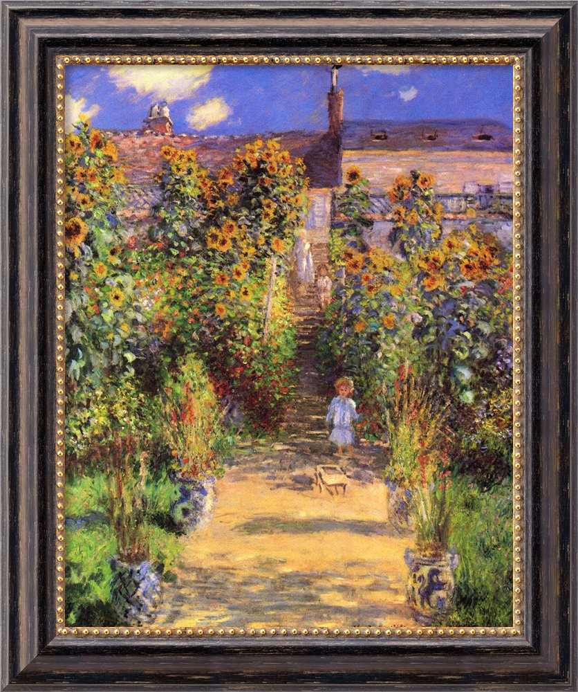 Canvas Art Framed 'The Artist's Garden at Vetheuil, 1880' by Claude Monet: Outer Size 20 x 24''