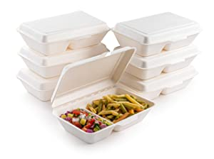 brheez Bagasse Take-Out Natural Disposable Clamshell Lid Containers, Biodegradable, Compostable & Chemical Free - Pack of 50 (9