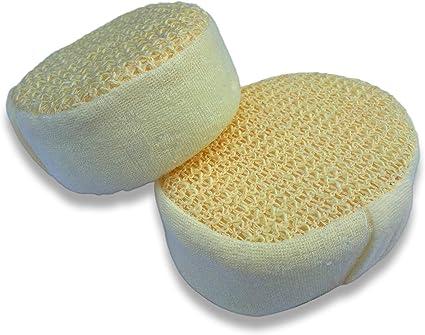 Pack de 2 esponjas de baño de cáñamo para el cuerpo de 14cm calidad premium – Exfoliación