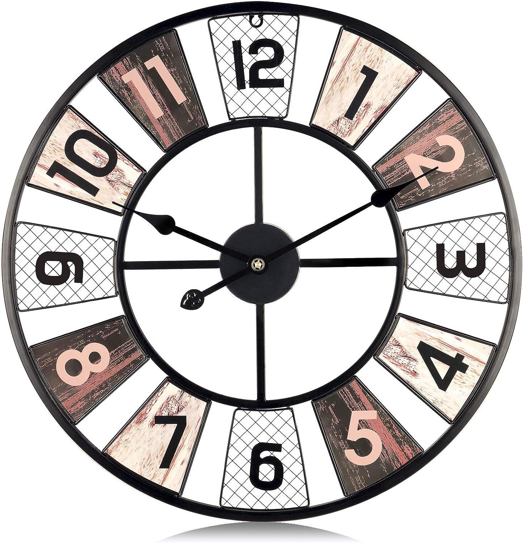 Lafocuse 60cm Reloj de Pared Grande Rejilla Rústico Reloj de Cuarzo Negro Industrial Silencioso con Fotos de Bricolaje para Salon Bar Restaurante