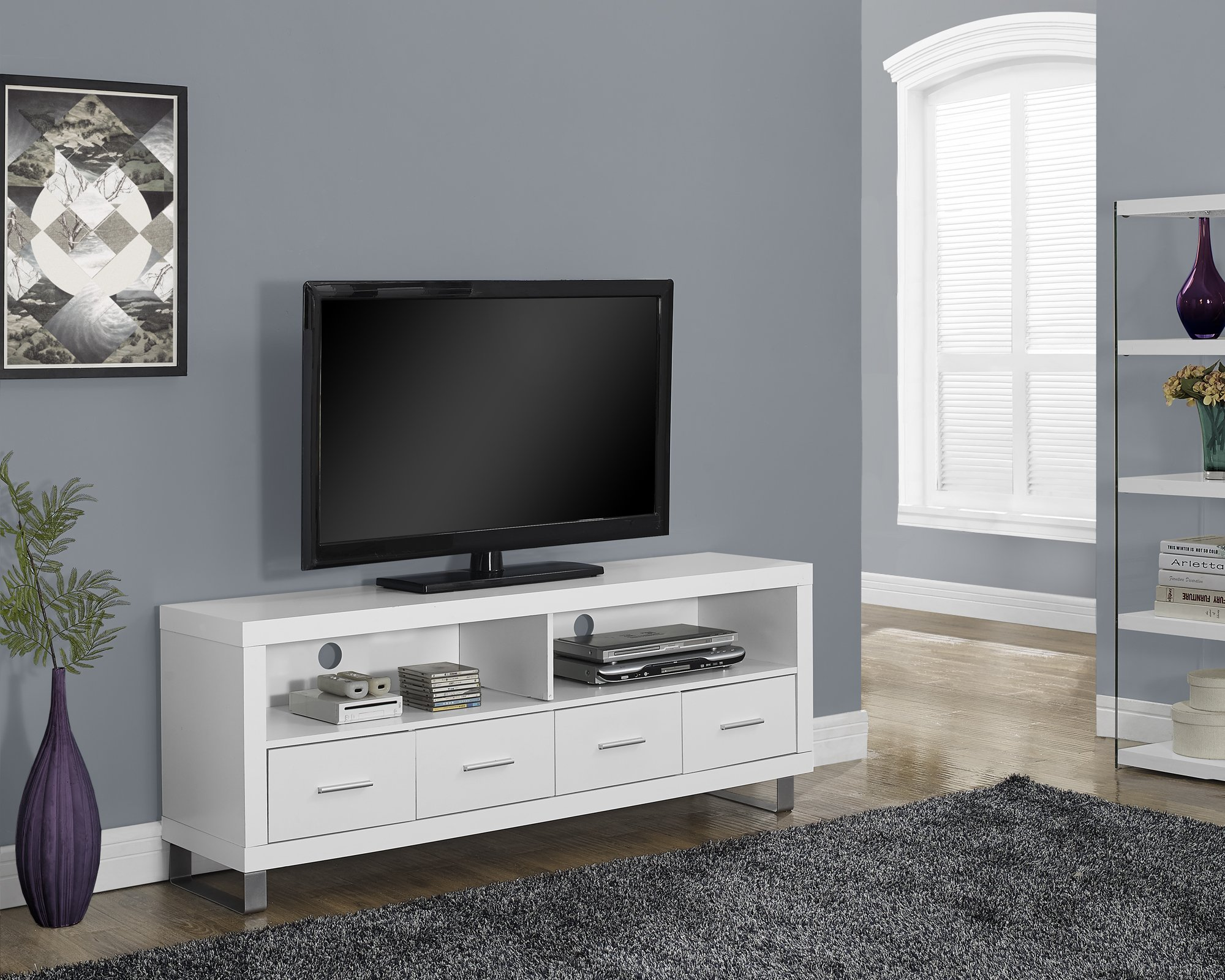 Monarch Specialties I 2518, TV Console with 4 Drawers, White, 60''L