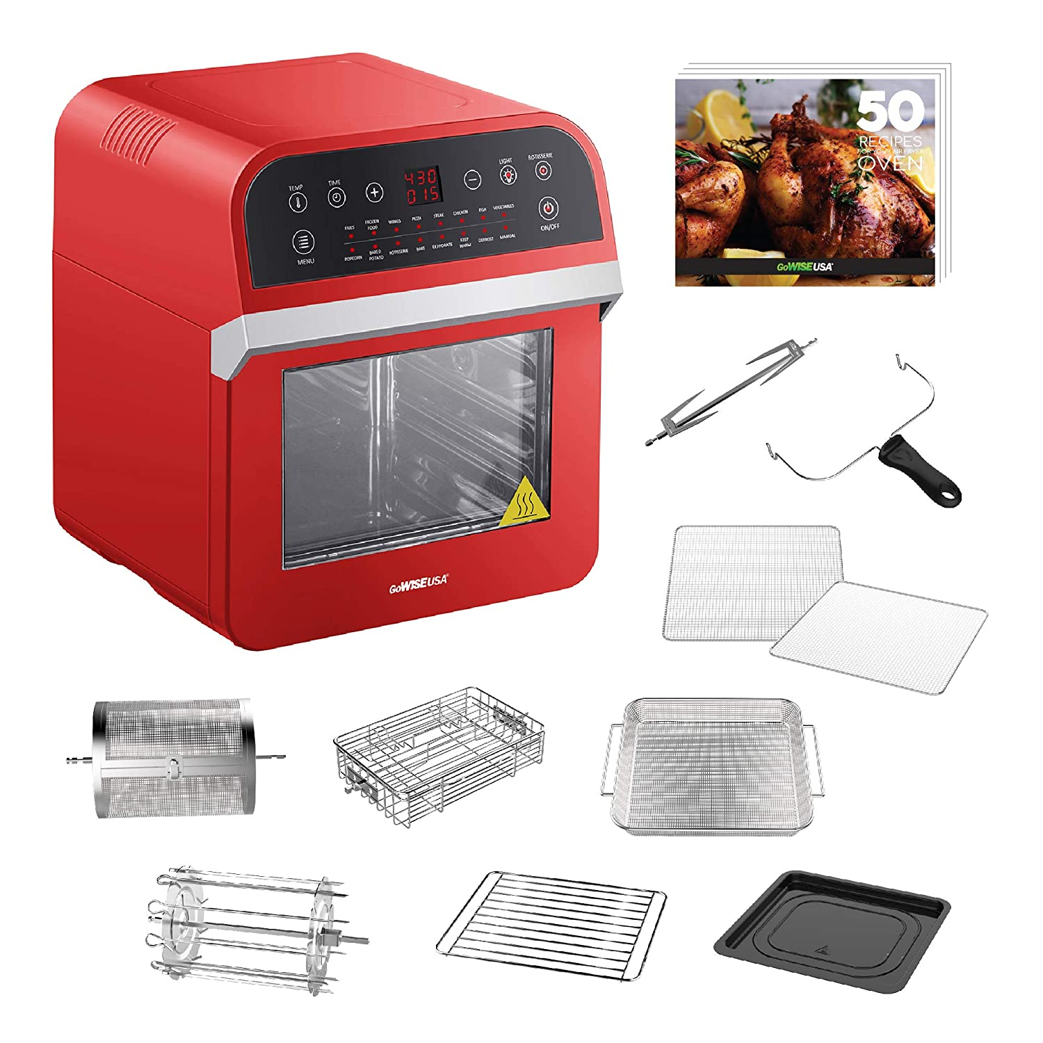 GoWISE USA 12.7-Quart 15-in-1 Electric Air Fryer Oven w/Rotisserie and Dehydrator + 50 Recipes for your Air Fryer Oven Book (Red)