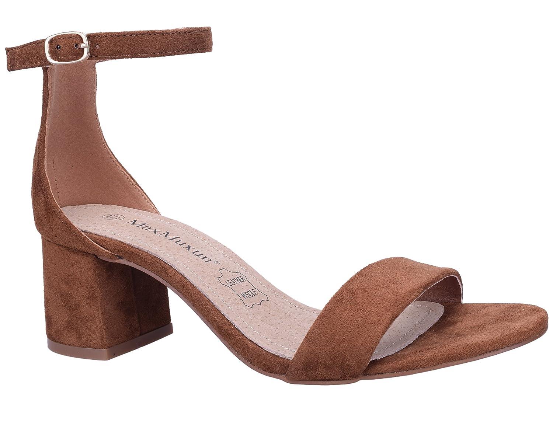 MaxMuxun Carrés Chaussures à Talons Bas avec des Lacets et Boucles Classiques Femmes
