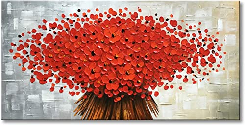 Winpeak Art Hand Painted Abstract Canvas Wall Art Modern Textured Red Flower Oil Painting Contemporary Artwork Floral Hangings Stretched and Framed Ready to Hang 32 W x 16 H, Red