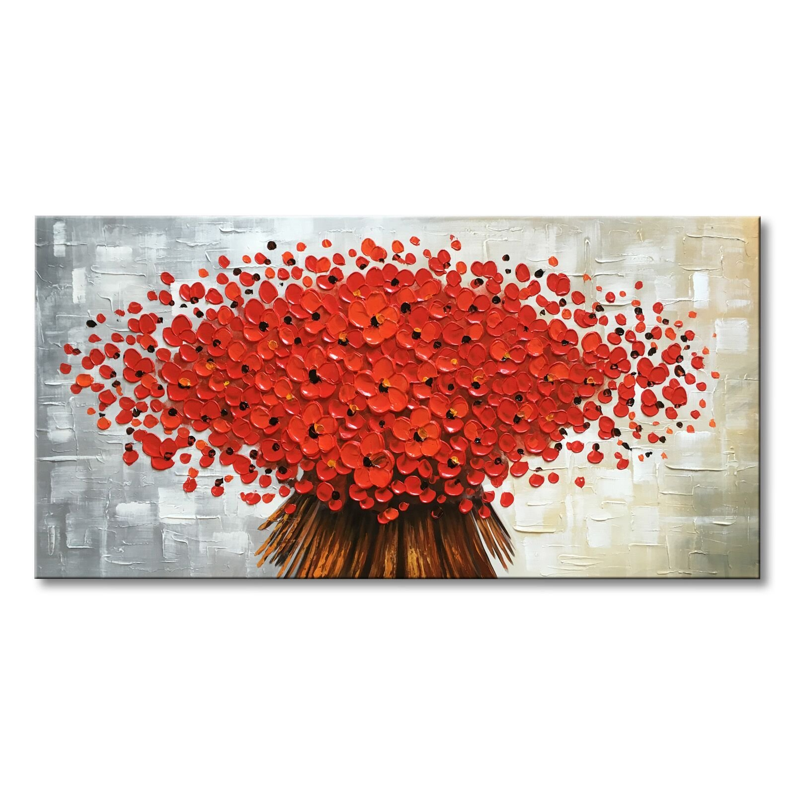 Winpeak Art Hand Painted Abstract Canvas Wall Art Modern Textured Red Flower Oil Painting Contemporary Artwork Floral Hangings Stretched and Framed Ready to Hang (48'' W x 24'' H, Red)