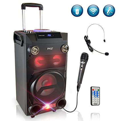 Pyle Outdoor Portable Wireless Bluetooth Karaoke PA Loud speaker - 8''  Subwoofer Sound System with DJ Lights, Rechargeable Battery, FM Radio, USB  /