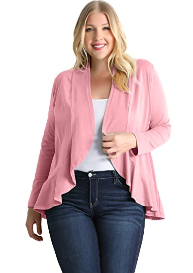 Plus Size Ruffle Cardigan Sweaters For Women Made In Usa At Amazon