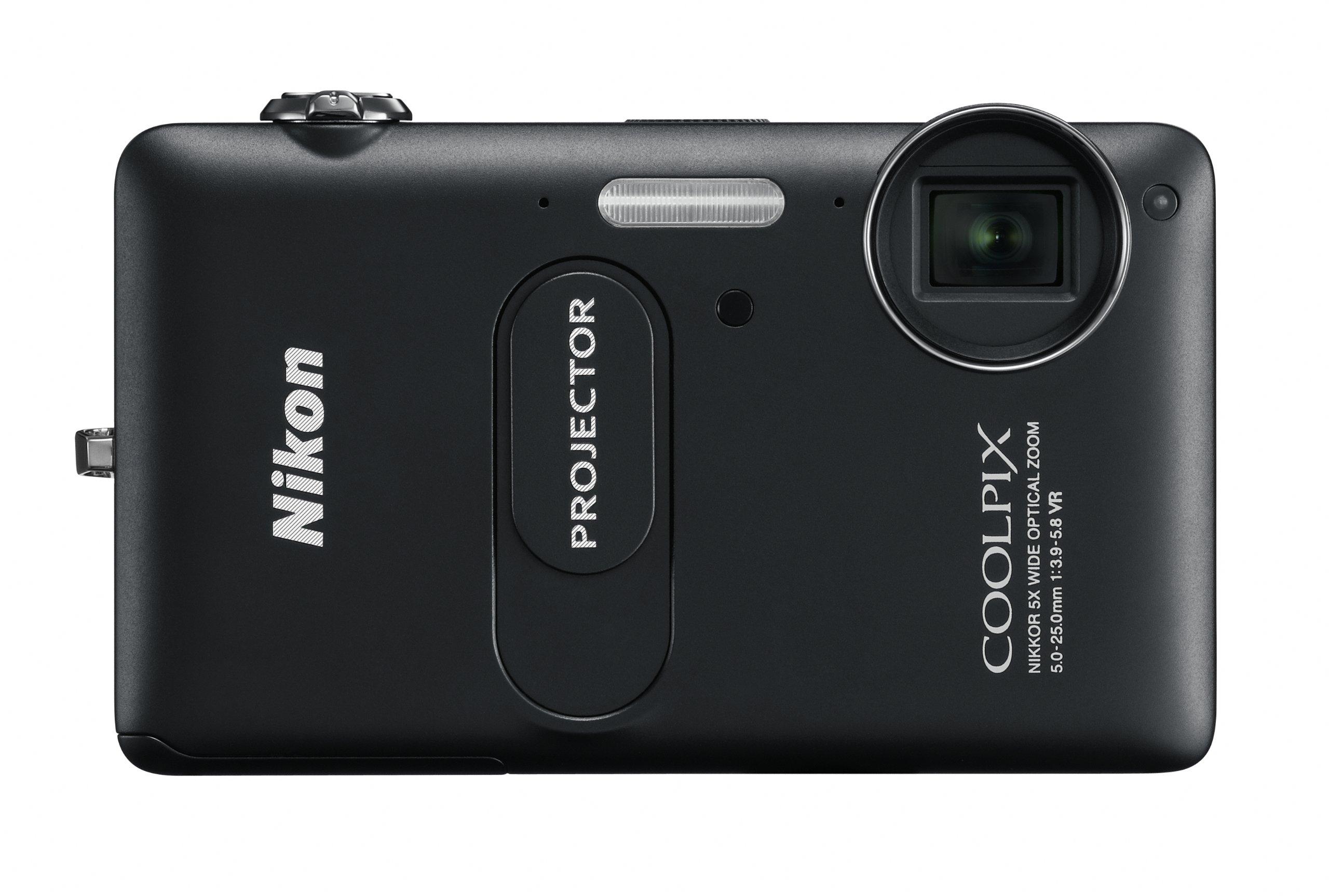 NIKON - Coolpix S1200pj Black 14.1-Megapixel Zoom Digital Camera with Built-In Projector