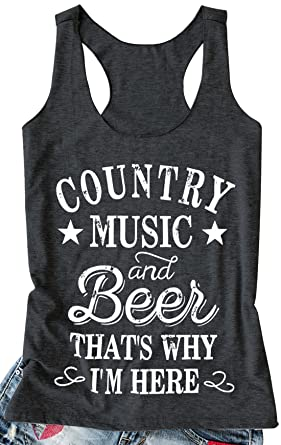 c991acf1502f kikisa Women Tank Top Country Music and Beer That's Why I'm Here Vest  Sleeveless