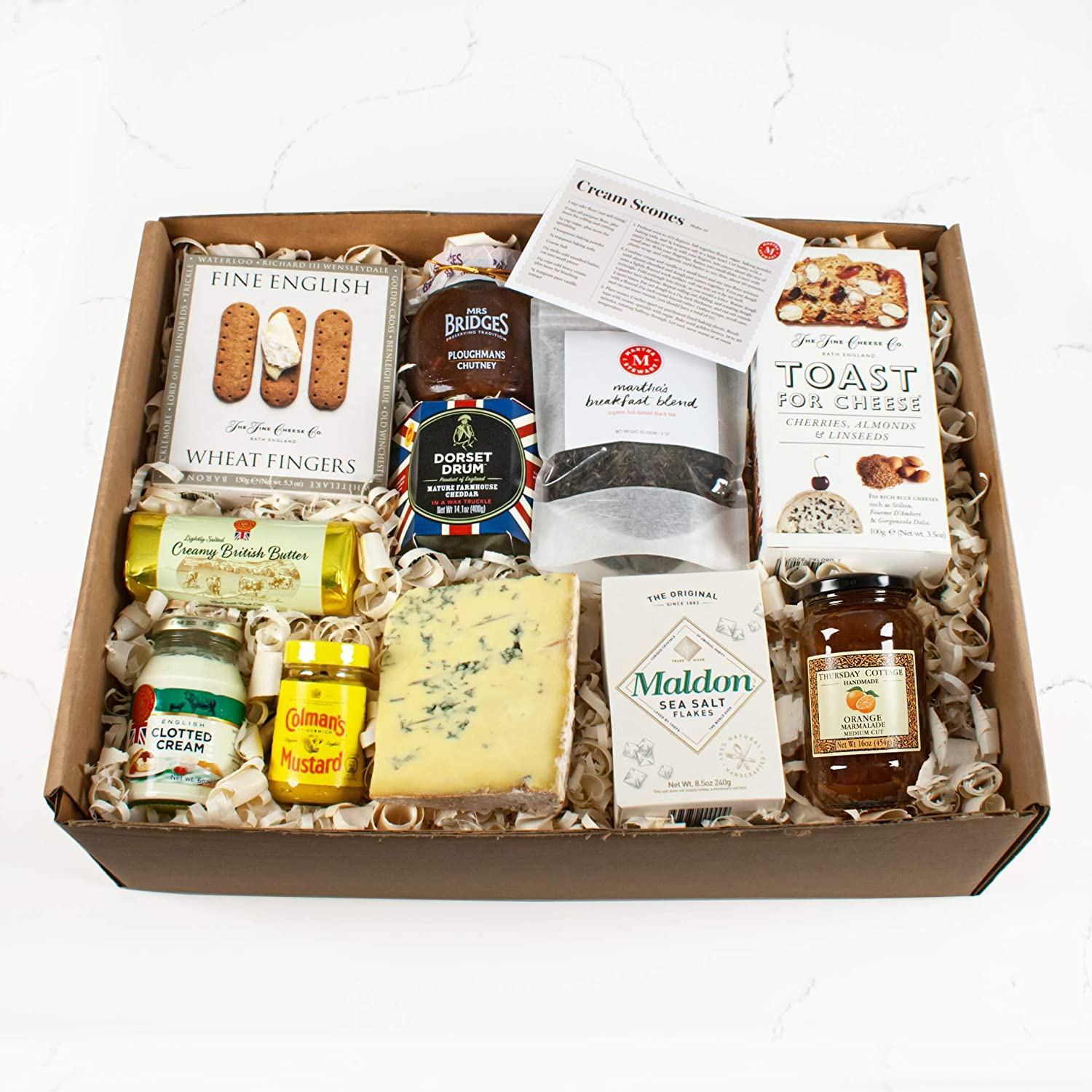 Martha Stewart Best of Britain Gift Basket - Includes Gourmet Cheeses, Ploughmans Chutney, Orange Marmalade, Rich Clotted cream, Buttery Crackers, Pungent Mustard, and Breakfast Blend Tea