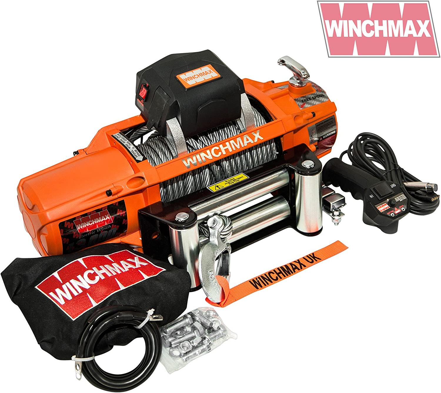 Winchmax ELECTRIC WINCH 12V 4x4//RECOVERY SL 13500 lb BRAND MOUNTING PLATE INC