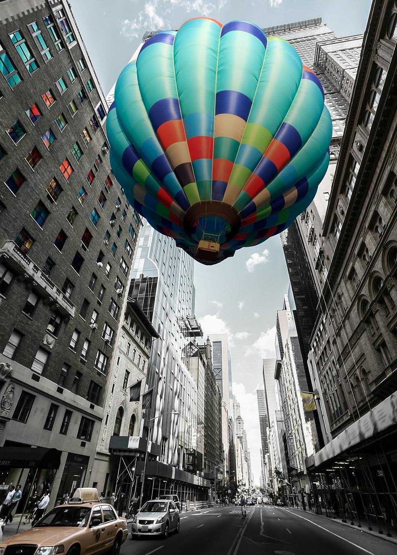 Artis 608811Glassart Blue Hot Air Balloon Glass 45x 65cm