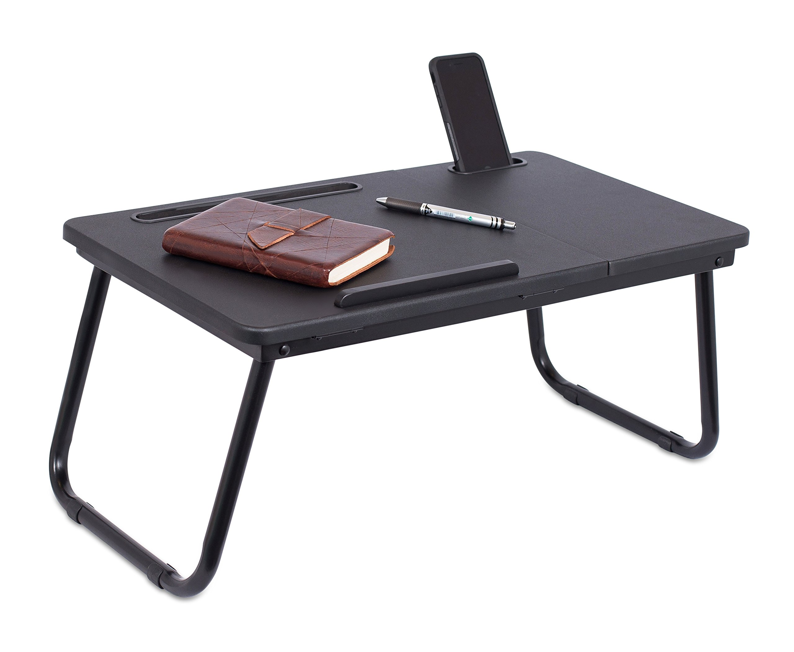 Sofia + Sam Lap Tray with Tablet & Phone Slots | Metal Folding Legs | Lap Desk with Tilting Top | Laptop Stand | Breakfast Serving Bed Tray | Black by Sofia + Sam (Image #4)