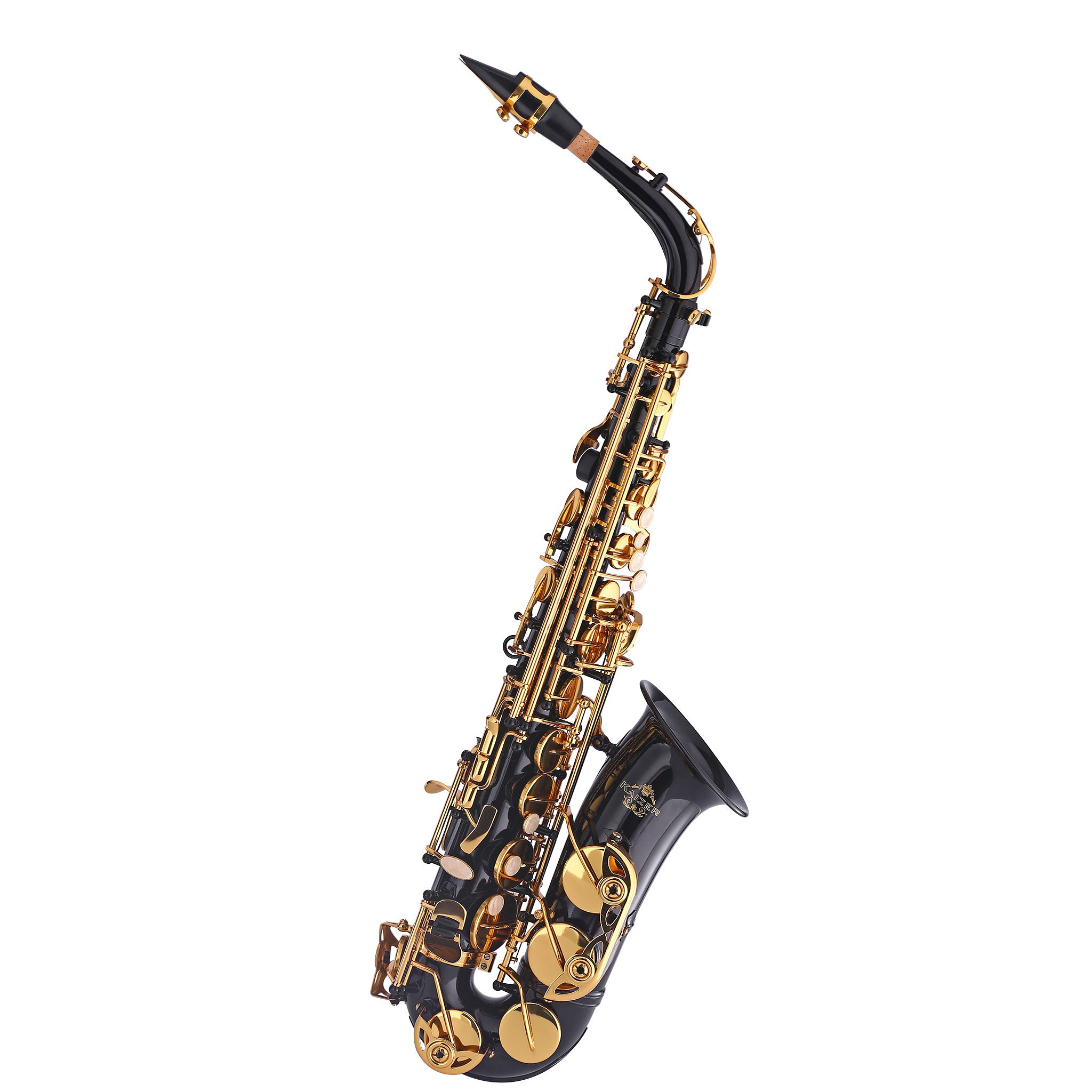 Kaizer Alto Saxophone E Flat Eb Black Lacquer Body Gold Keys 1000 Series Sax Includes Case Mouthpiece and Accessories ASAX-1000BKGK by Kaizer (Image #1)
