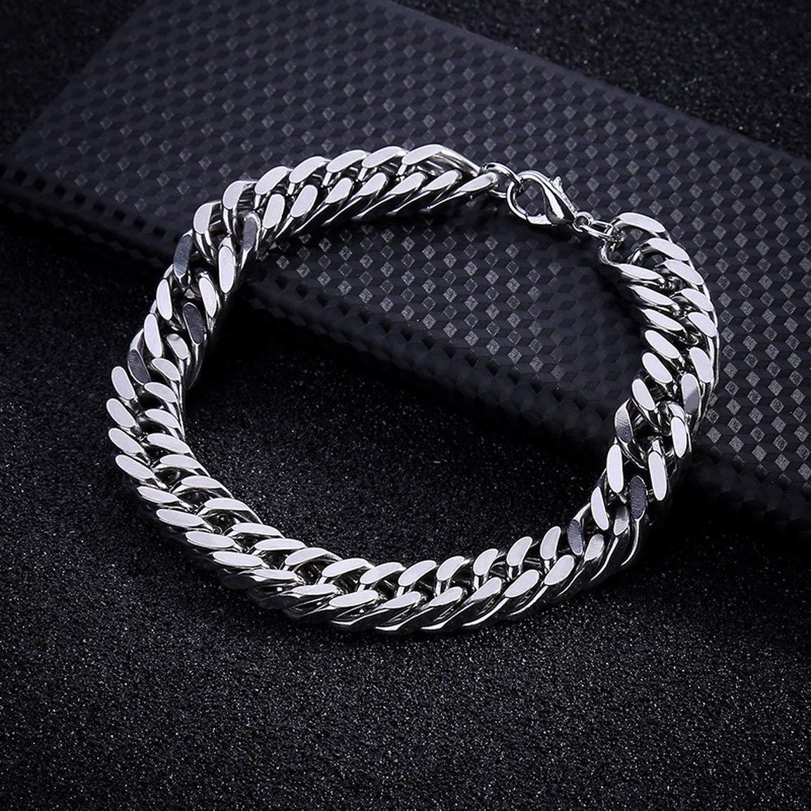 Dimensioni: 3mm Y1293mm Colore: argento Y129 Bracciali maschili Squisito ragazzo catena universale acciaio inossidabile uomini Bracciale accattivante uomini ornamenti