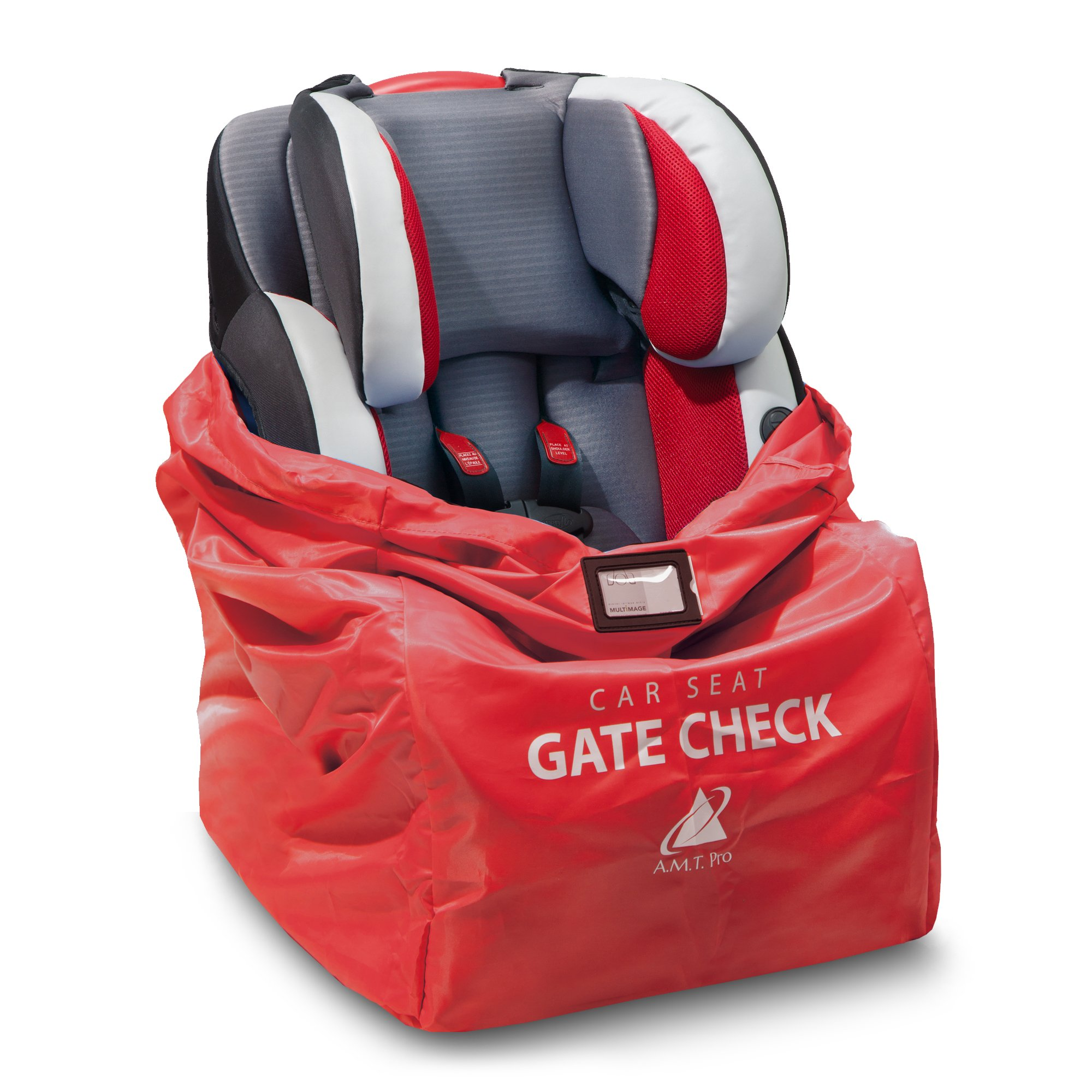 Car Seat Travel Bag – Durable, Water-Resistant Gate Check Bag with Adjustable Straps – Protector Traveling Bag Cover Carrier Must-Have Baby Travel Accessories for Airplanes and Trains by AMT Pro Red