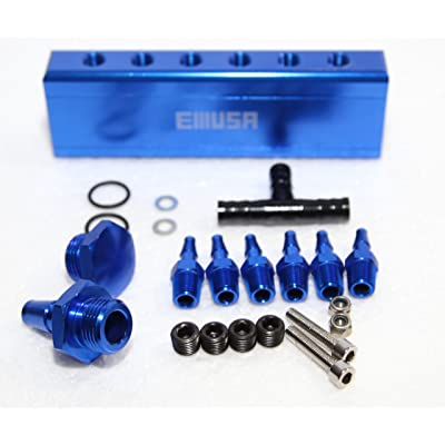 "EMUSA 1/8"" NPT 6 Port Vacuum Manifold Kit for Turbo Boost Intake Manifold (BLUE): Automotive"