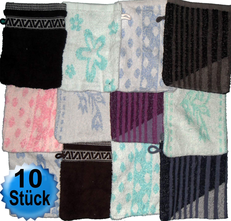 Waschlappen 100/% Baumwolle einfarbig 14x21cm uni Waschhandschuh Frottee 10 St/ück in versch ca Walk Frottier Farben sortiert