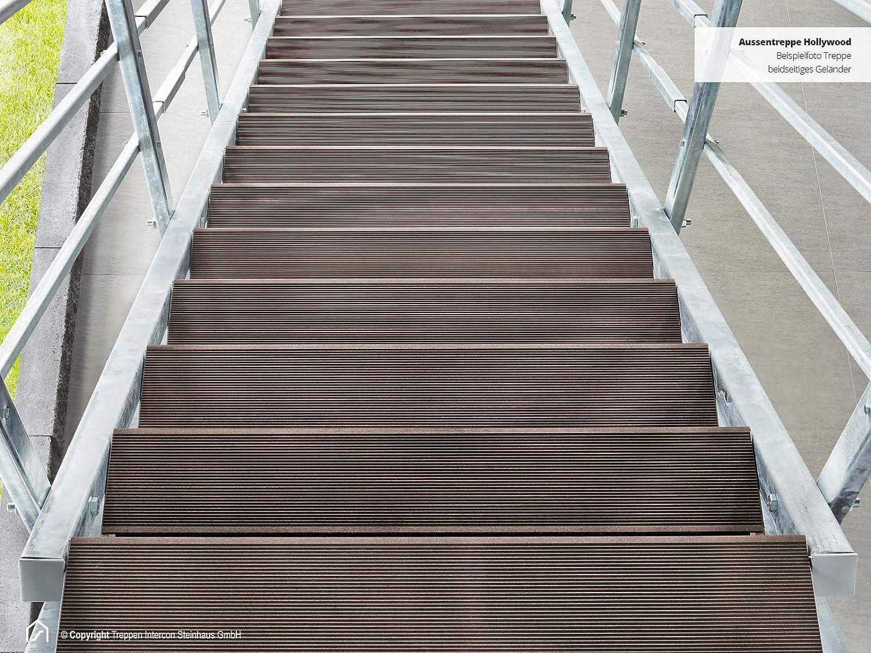 Intercon/® Au/ßentreppe Hollywood mit Streckgitter- oder WPC Stufen 2 Gel/änder, WPC Anthrazit feuerverzinkte Stahltreppe 7 Stufen