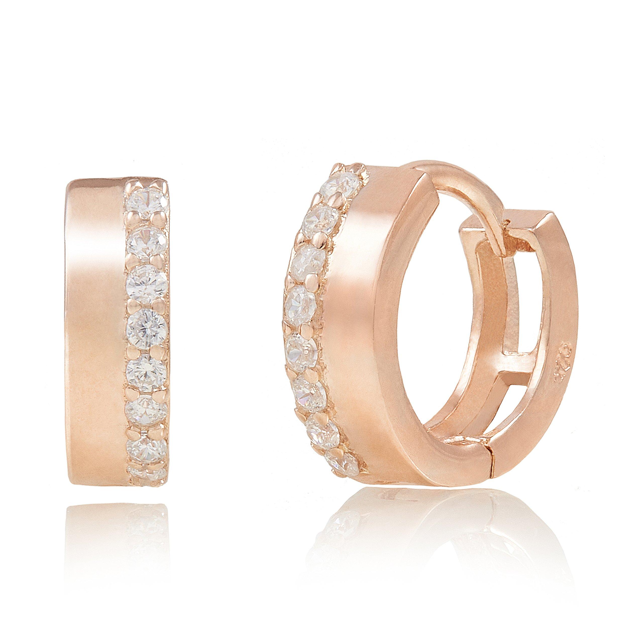 Spoil Cupid Rose Gold-Plated Sterling Silver Cubic Zirconia Huggie Hoop Earrings