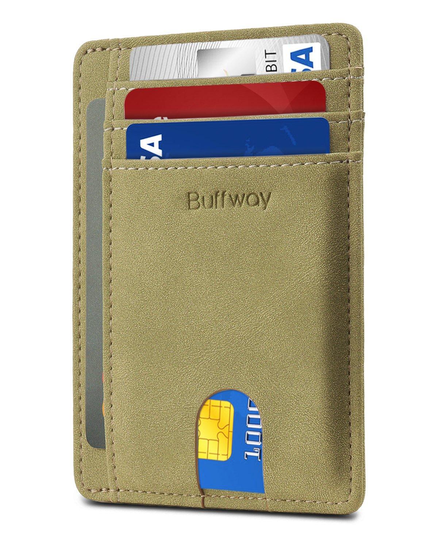 Slim Minimalist Leather Wallets for Men & Women - Meadow Green