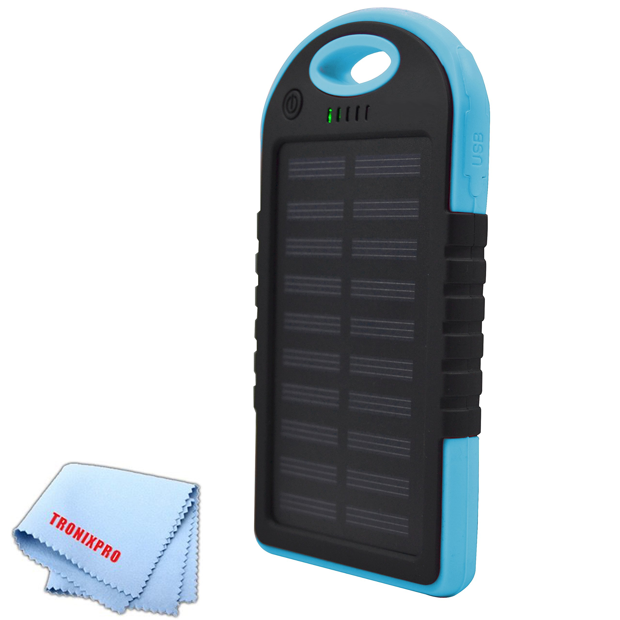7000mAh Solar cell Water resistant Battery power bank and with dual USB output and Blacklight (Blue) + Tronixpro Microfiber Cloth