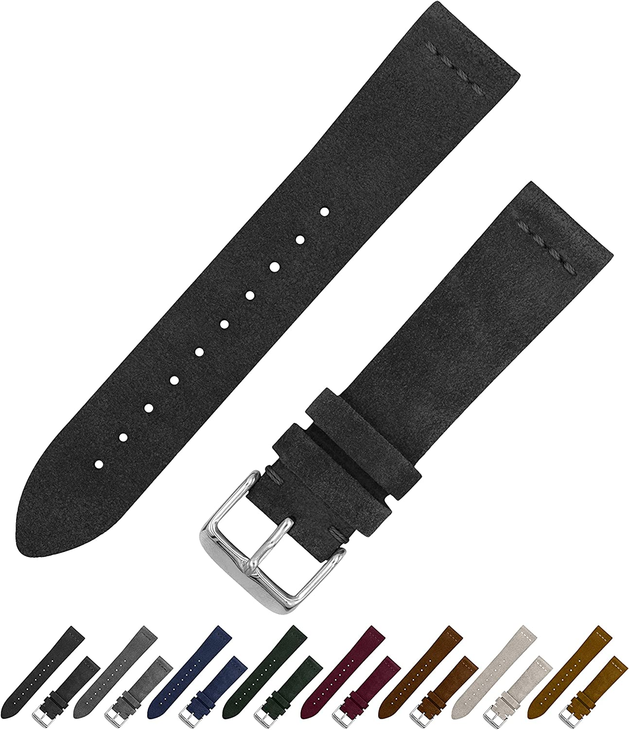 Benchmark Basics Suede Watch Strap - Vintage Leather Watch Band for Men & Women - Compatible with Regular & Smart Watches - Choice of Color & Width - 18mm, 20mm or 22mm