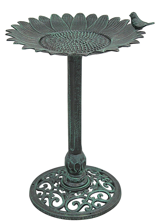 Innova 29619V Sunflower Bird Bath with Stand, Verdigris
