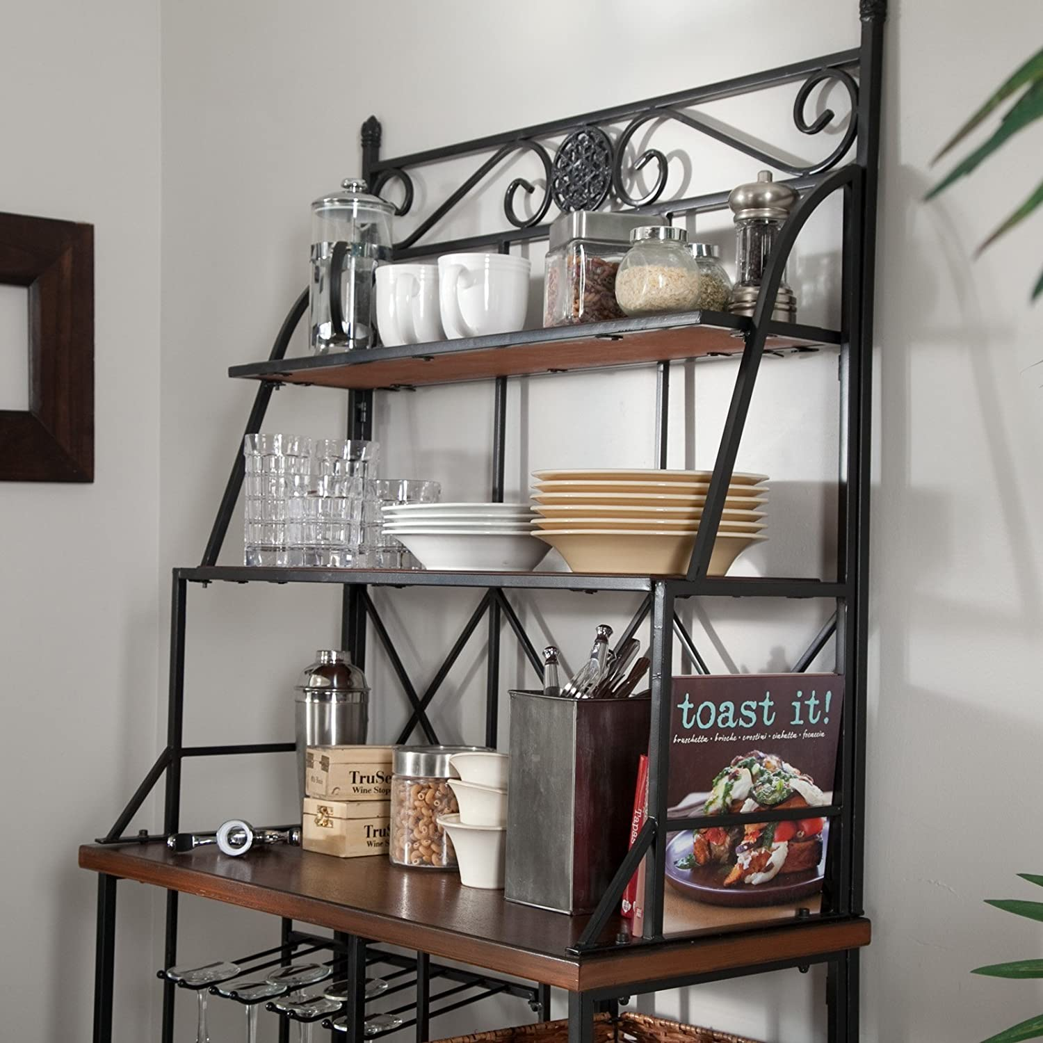 metal bakers rack with wine storage wine glass