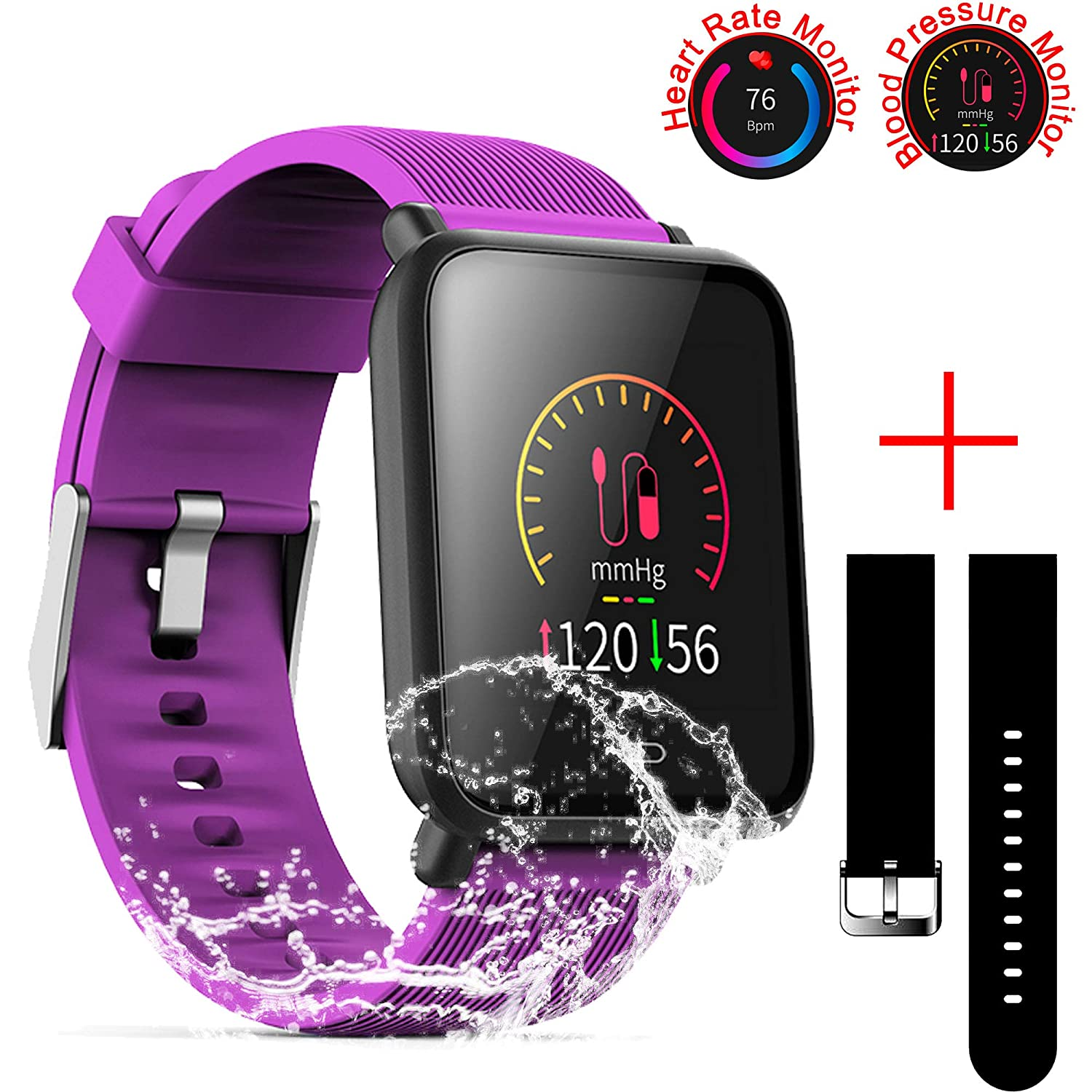 SZHAIYU Blood Pressure Heart Rate Monitor Smart Watch Android iOS IP67 Waterproof Sport Fitness Trakcer Watch Men Women Smartwatch (Purple)