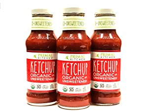Pack of 3 - Primal Kitchen - Organic Unsweetened Ketchup - Non GMO - Vegan - Gluten Free Whole 30 Approved (Frustration Free Packaging)