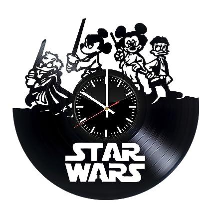 Star Wars Mickey Mouse reloj de pared de disco de vinilo. Get Unique Home habitación